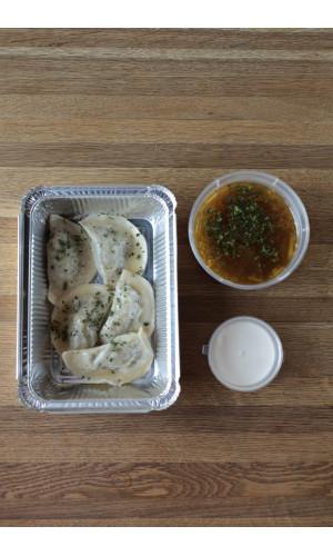 При заказе вареников с картофелем, грибной суп в подарок